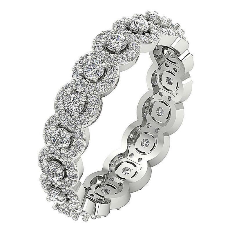 Designer Halo Eternity Ring I1 G 1.35 Ct Natural Round Diamond 14k Solid Gold