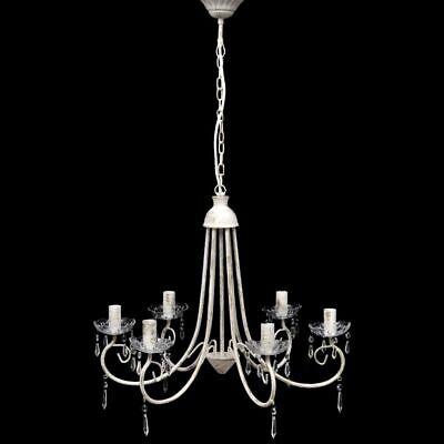 vidaXL Lámpara de Araña de Techo Blanca con Cristales y 6 Velas...