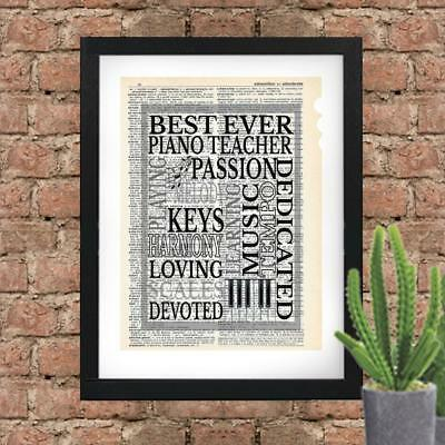 Best Ever Piano Teacher Dictionary Art Print Contemporary Mixed Art Teacher Gift Best Ever Piano