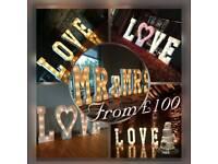 4ft light up LOVE / MR & MRS Hire for Weddings