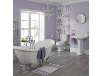 Slipper bathroom/suite with his/her sinks
