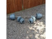 York vinyl covered weights set. Barbell and Dumbbells.