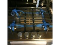 Hoover Gas Hob Stainless Steel 4 Burner Cast Iron Supports New and Unused