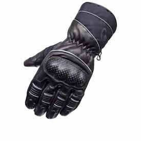 ** BRAND NEW Black Vector Leather Motorcycle Gloves (Size M)**