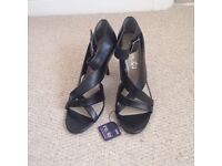 M&S leather black sandals size 7 1/2 NEW