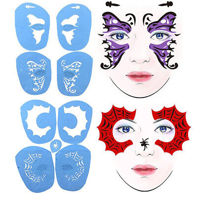 2 Set Fun Animal Face Paint Body Stencil Template Airbrush Halloween Makeup