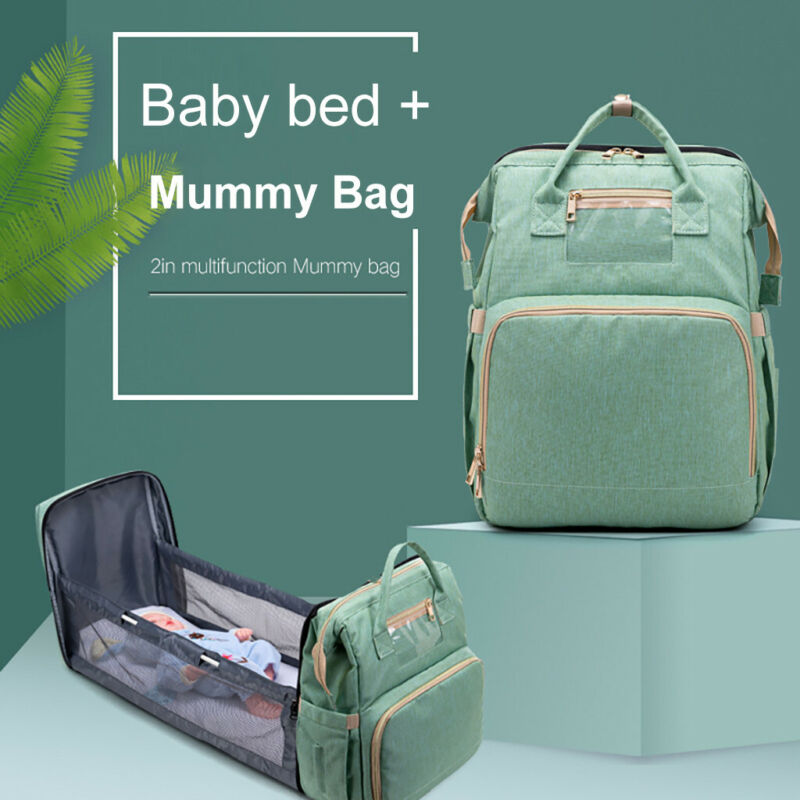 2in1Multifunctional Travel Mommy Backpack Portable Crib Napp
