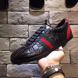 mens black gucci red green logo leather trainers