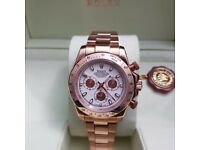 New Mens bagged rose gold Bracelet white dial automatic sweeping Rolex daytona watch