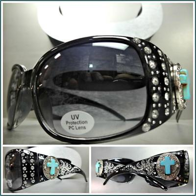 New Classy Elegant WESTERN Rustic Bling COWGIRL Style SUNGLASSES Turquoise - Turquoise Sunglasses