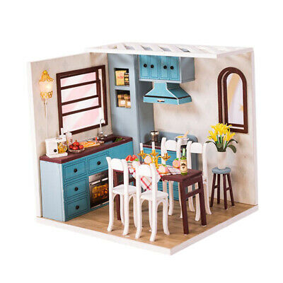 1/24 Miniature Dollhouse Kit with Furniture and LEDs Kitchen Dining Room Toy