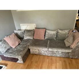 Velvet small corner sofa