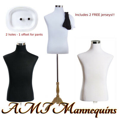 183832 Male Mannequin Dress Form Stand2 Jerseys Whiteblack Torso-mf-102