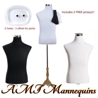 183832 Male Mannequin Dressform Stand2 Jerseys Whiteblack Torso-mf-102