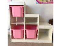 IKEA Trofast Frame Shelve Unit Shelves Storage White Children Child Kids Room White with boxes
