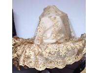 Elegant unique wedding lace fabric material gold Christmas party bridal £12