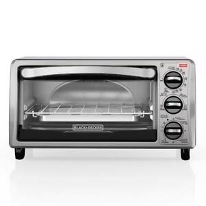 NEW BLACK+DECKER 4-Slice Toaster Oven, Includes Bake Pan, Broil Rack & Toasting Rack