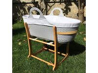 Moba Moses Basket (used twice) & Stand: £50 for both