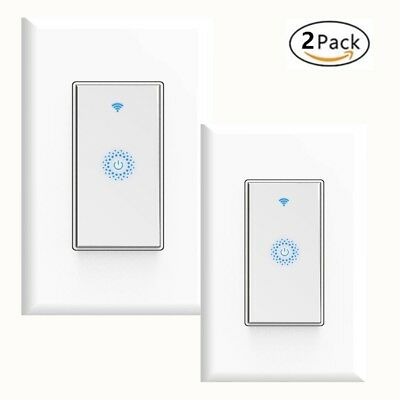 Smart Wifi Light Switch 2-Pack Works with Alexa Google Home Android IOS IFTTT