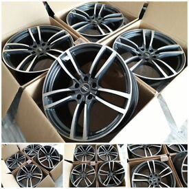 "HT28* NEW 21"" INCH R21 ALLOYS FOR AUDI Q7 GREY DIAMOND CUT / VW TOUREG 21 5X130 PCD ALLOY WHEELS"