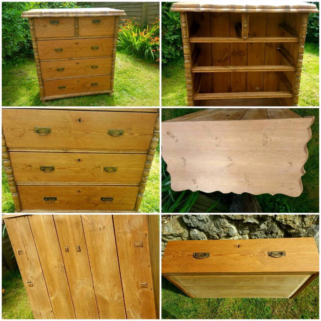 Very old Large tall heavy solid chest of drawers