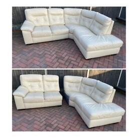 Harveys cream leather corner sofa