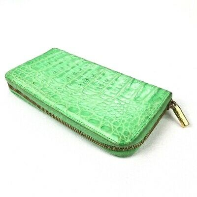 VTG Gianni Versace Genuine Crocodile Alligator Long Bifold Wallet Lime Green