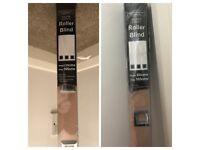 2 Beige square eyelet roller blinds