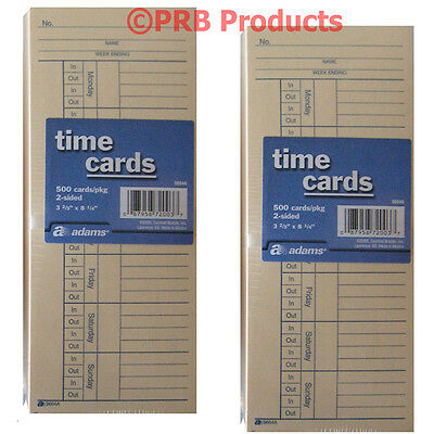 1000 2 Sided Adams Time Cards Employee Punch Payroll Amano Clock 9664a 2 X 500