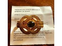 British Museum J59810 Herakles Knot Brooch Gold Plate On Bronze & Stone By Georgina Dean Jewellery