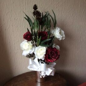 Artificial flower arrangement, red and white . Great for Christmas display.