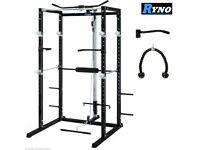 RYNO™ ULTIMATE BLACK POWER RACK SQUAT CAGE GYM w/LAT PULL DOWN / SEATED ROW / ARM CURL