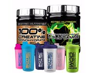 Scitec L Glutamine 300g Free 100% Creatine Monohydrate 300g and Shaker