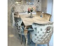 Range OF Brand New Marble Top Dining Table Sets With Ring and Lion Knocker Chairs
