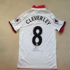 Watford FC football shirt signed by Tom Cleverley