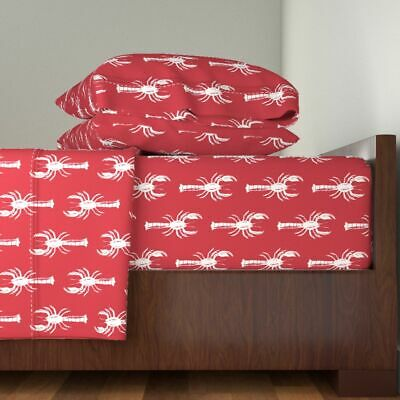 Fruit Of The Sea Rock-On Lobster Red 100% Cotton Sateen Sheet Set by Roostery - Fruit Of The Sea