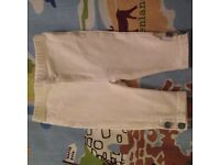 Baby Ralph Lauren White Leggings with Gorgeous Blue and White Button detail. 0-3 months
