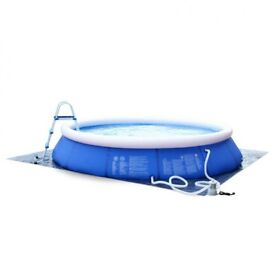 [Cristal] 14ft x 33in / Ø420x84cm inflatable pool, blue, round above ground pool, self-supporting