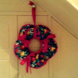 Homemade Fabric Hanging Christmas Wreath