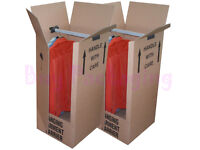 10 LARGE STRONG REMOVAL MOVING WARDROBE CARDBOARD BOXES WITH HANGERS