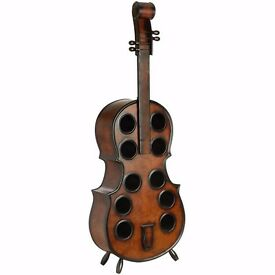 Brand New Exquisite Wooden Dark Earth Tones Double Bass Wine Rack