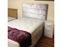 DOUBLE BED WITH ORTHO MATTRESS AND HB WITH DRAWERS CRUSHED SILVER VELVET FABRIC