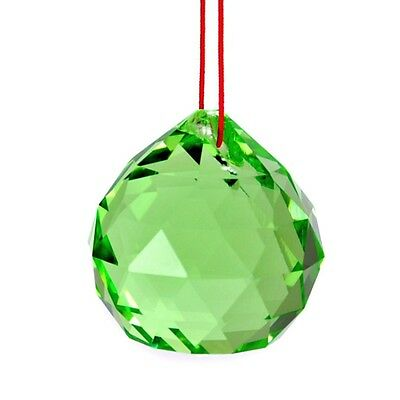 "GREEN FENG SHUI HANGING CRYSTAL BALL 1.5"" 40mm Sphere Prism Rainbow Sun Catcher"