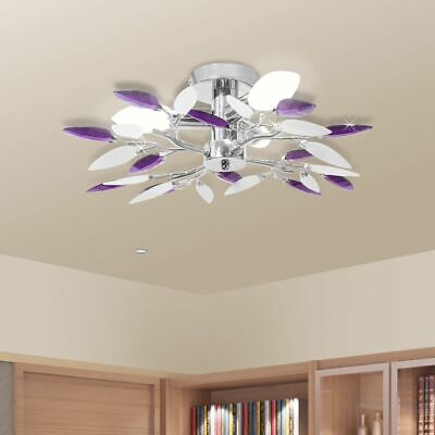 vidaXL Lámpara de Techo Original Forma de Hojas Casquillo E14 Blanco y...