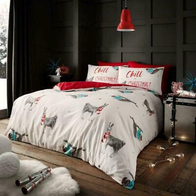 Christmas Bedding Set Duvet Quilt Cover With Pillowcase Single Double King Size ()