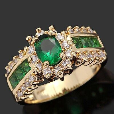 Size 11 Cute Emerald 18K Gold Filled Rare Emerald Cut Womens Engagement Rings (Cute Rings Size 11)