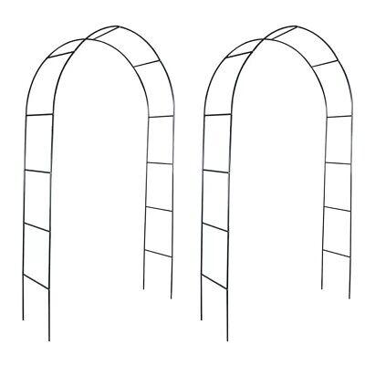 Heavy Duty Metal Garden Arch 2pcs Climbing Plants Dark Green Archway Pathway Set