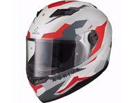Brand New Ex Demonstration Agrius Rage Tracker Motorcycle Helmet M Matt Pearl White/Red Full Face