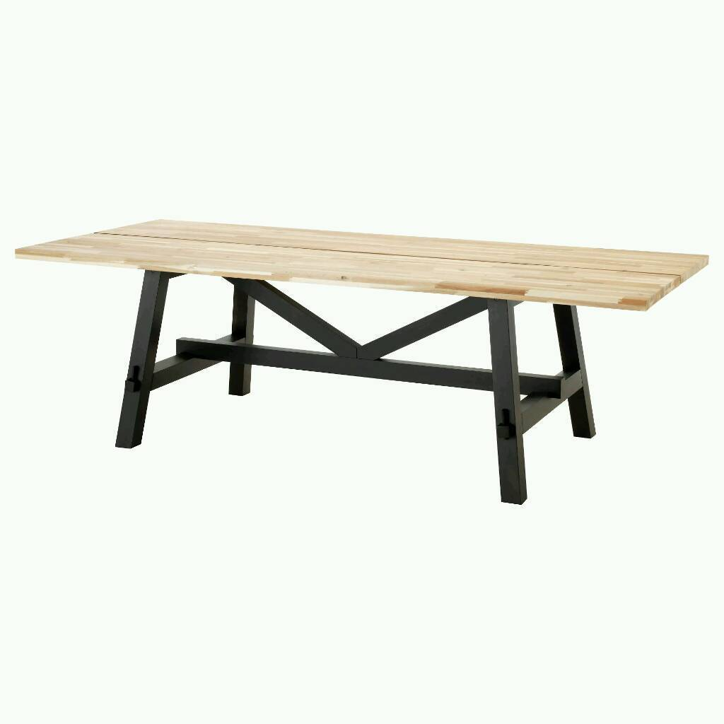 PRICE REDUCED Solid Wood Stunning LARGE Dining Table SKOGSTA IKEA 24M Long Acacia CAN