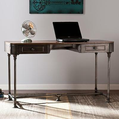 Rustic Writing Desk Industrial Metal Home Office Furniture Workstation Computer